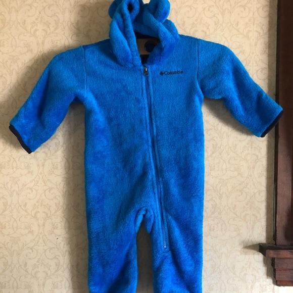 09975be8d Columbia Jackets & Coats | Blue Plush Fleece Bunting Snowsuit Baby ...
